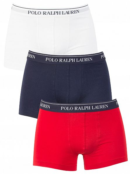 Polo Ralph Lauren White/Red/Navy 3 Pack Trunks