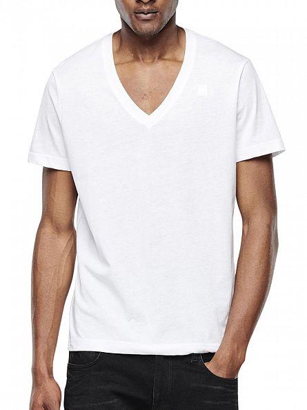 G-Star White 2 Pack V Neck T-Shirts