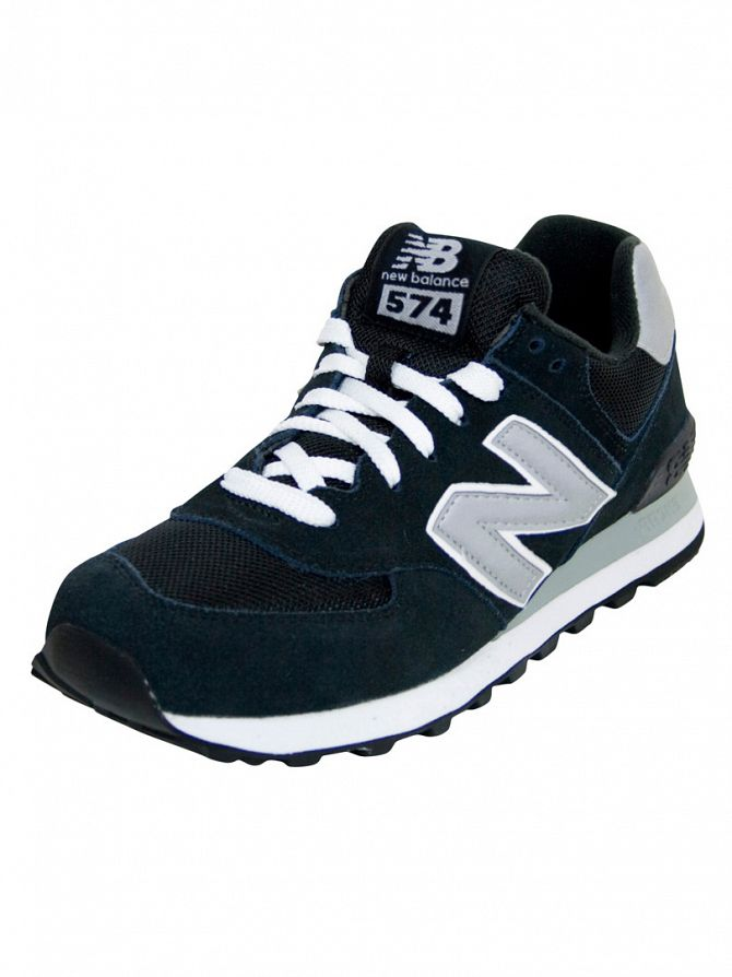 New Balance Black/Silver 574 Trainers