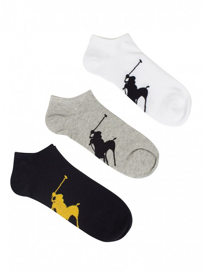 Polo Ralph Lauren Black/White/Grey 3 Pack BBP Sole Socks