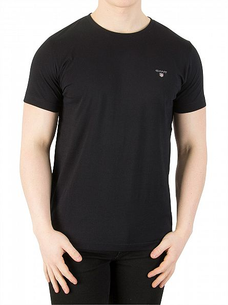 Gant Black Plain Crew Neck T-Shirt