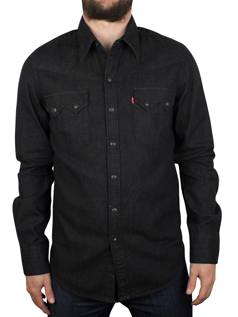 levi 39 s men 39 s sawtooth denim shirt black ebay. Black Bedroom Furniture Sets. Home Design Ideas