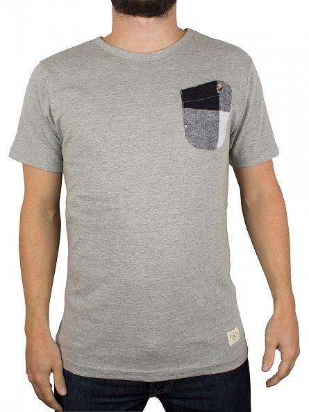 Bellfield Grey Marl Davidson Checked Pocket T-Shirt