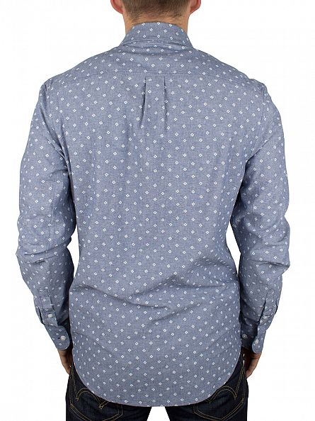 Original Penguin Dark Denim Longsleeved Woven Oxford Mini Print Shirt