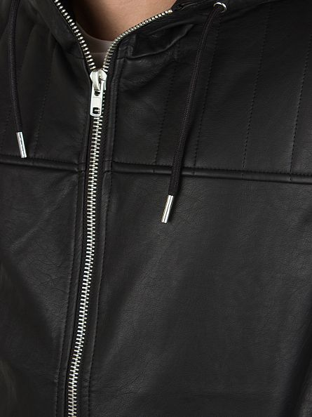 Bellfield Black Lundrum Hooded Pu Jacket