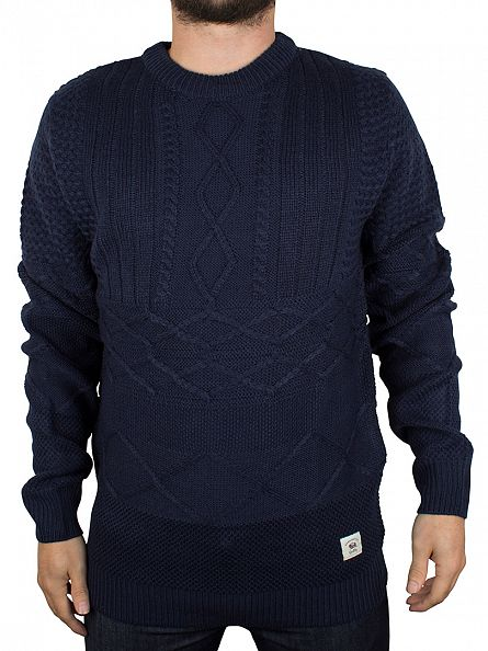 Bellfield Navy Vogar Mixed Cable Knit