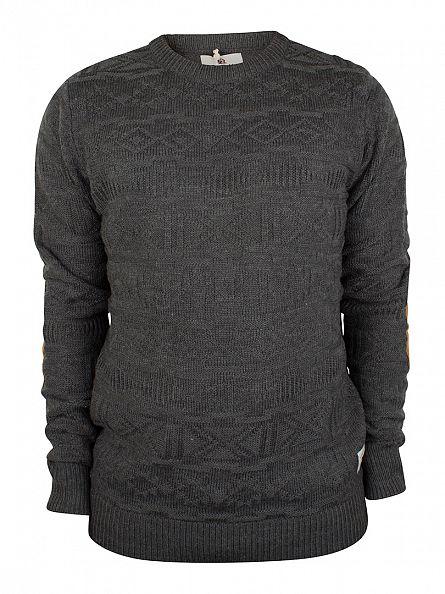 Bellfield Charcoal Arkane 3D Jacquard Elbow Patch Knit