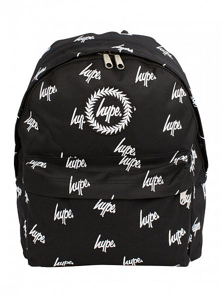 Hype Black/White Embroidery All Over Logo Backpack