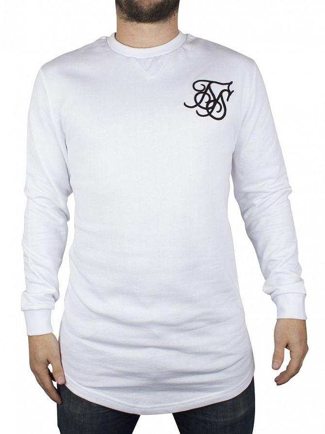 Sik Silk White Curved Hem Sweatshirt