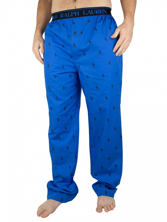 polo ralph lauren hydro blue polo black all over logo print pyjama bottoms 253 uptwe c0330 r40pp. Black Bedroom Furniture Sets. Home Design Ideas