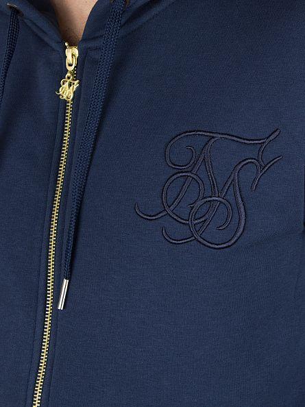 Sik Silk Navy Zip Standard Logo Tracksuit Hoodie