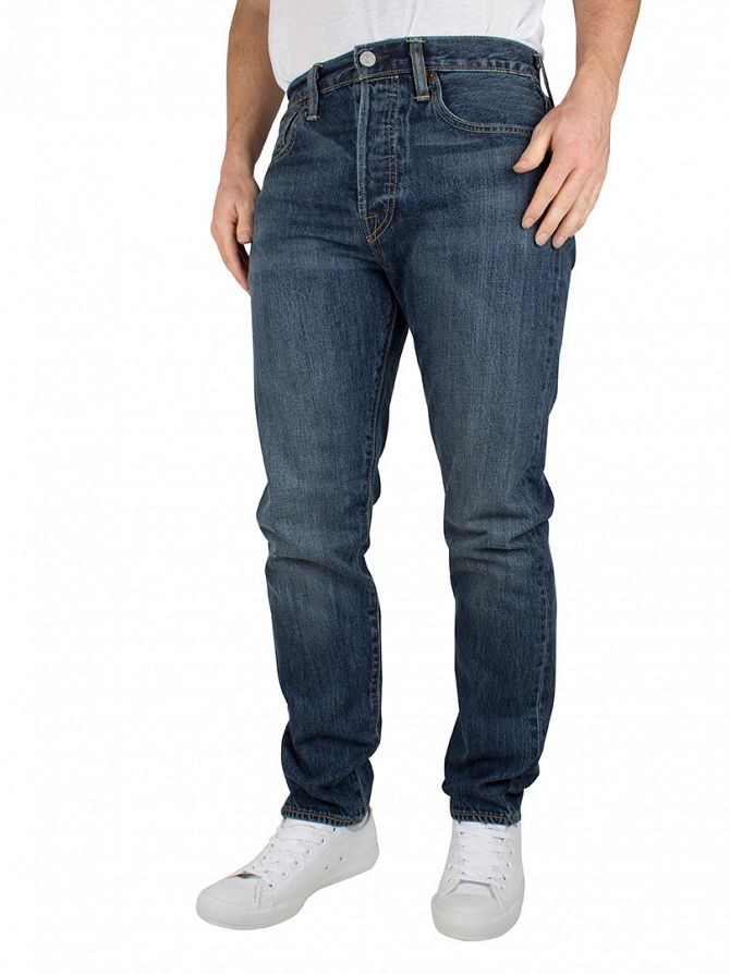 Levi's Blue Denim 501 Customized Tapered Spirit Fit Jeans