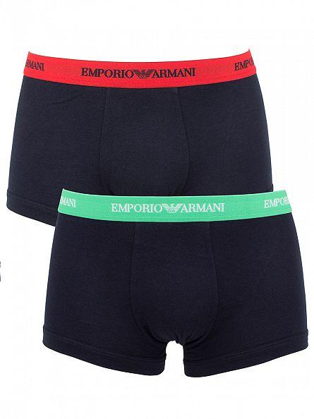 Emporio Armani Marine Green/Marine Red 2 Pack Trunks