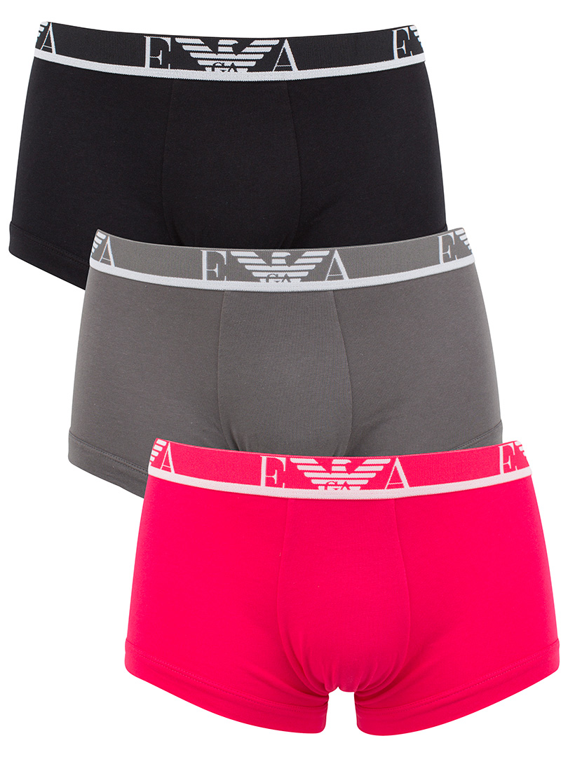 Emporio Armani BlackGreyPink 3 Pack Trunks