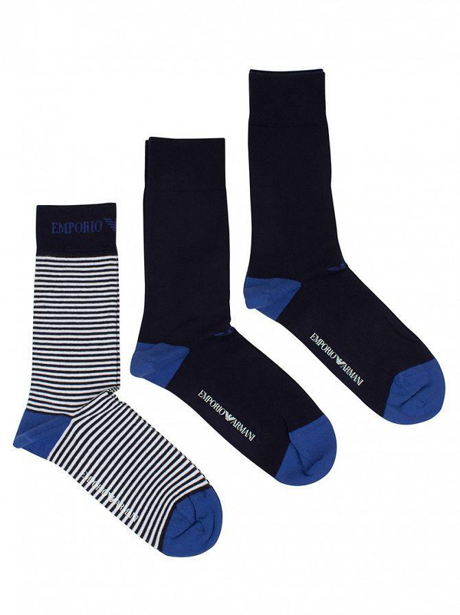 Emporio Armani Navy/White 3 Pack Stripe Cotton Stretch Socks