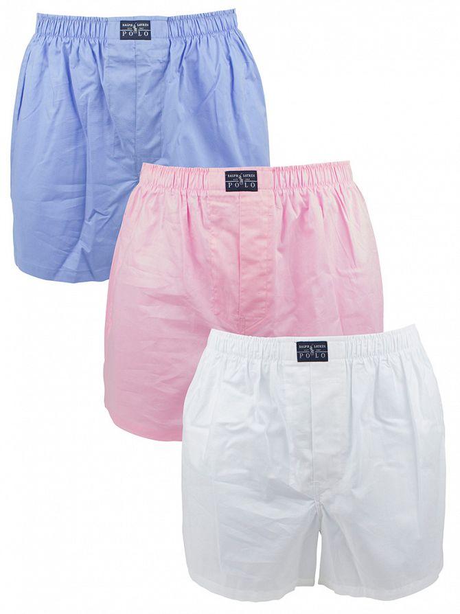 Polo Ralph Lauren White/Blue/Pink 3 Woven Classic Cotton Boxers