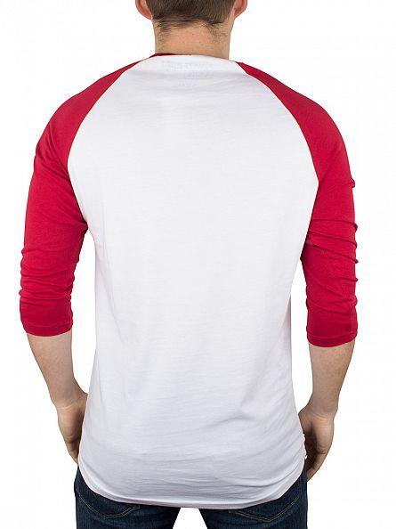 Vans White/Cardinal Red/Black Classic Logo Raglan T-Shirt