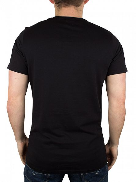 Edwin Black Garment Washed Hibiscus Floral Square Logo T-Shirt