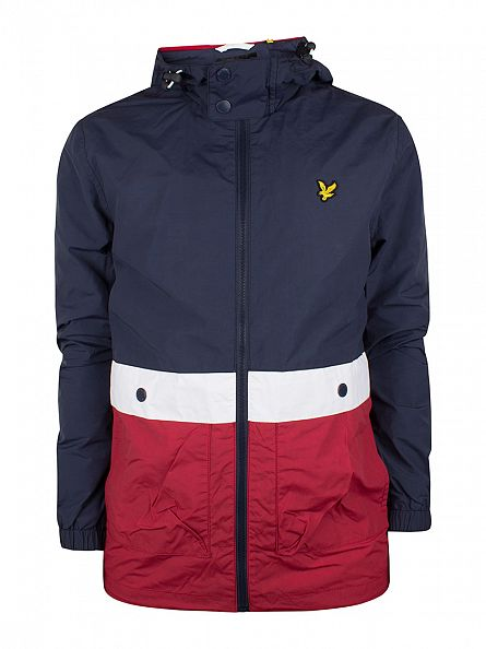 Lyle & Scott Navy/White/Ruby Archive Stripe Zip Jacket