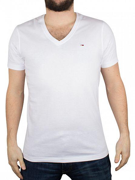 Hilfiger Denim Classic White V-Neck Logo T-Shirt