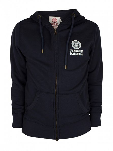 Franklin & Marshall Navy Left Chest Logo Zip Hoodie