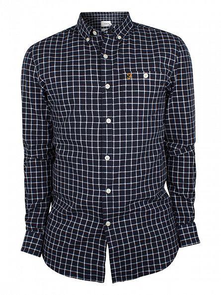 Farah Vintage True Navy Kenyon Slim Fit Checked Shirt