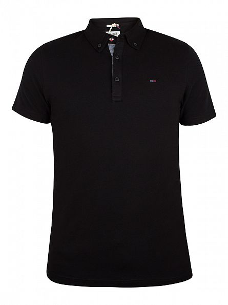 Hilfiger Denim Tommy Black Button Down Logo Polo Shirt