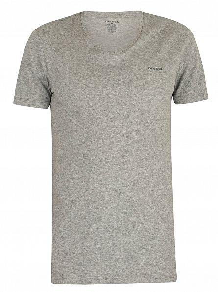 Diesel White/Black/Grey Marl 3 Pack Jake Plain Logo V-Neck T-Shirts