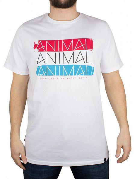 Animal White 3 Logo Graphic T-Shirt