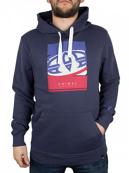 Animal Indigo Worn Logo Graphic Overhead Hoodie