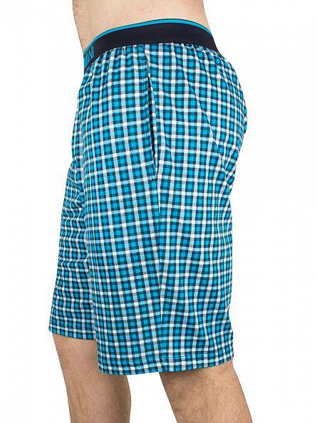 Emporio Armani Blue Checked Logo Waistband Pyjama Shorts