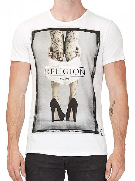 Religion White Pull Them Down Crew Neck T-Shirt