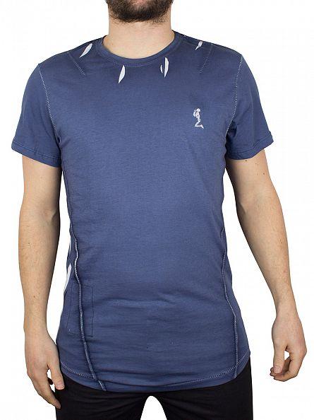 Religion Moody Blue Block Curved Hem T-Shirt