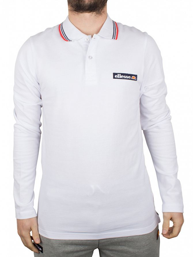 Ellesse Optic White Atrani Longsleeved Polo Shirt