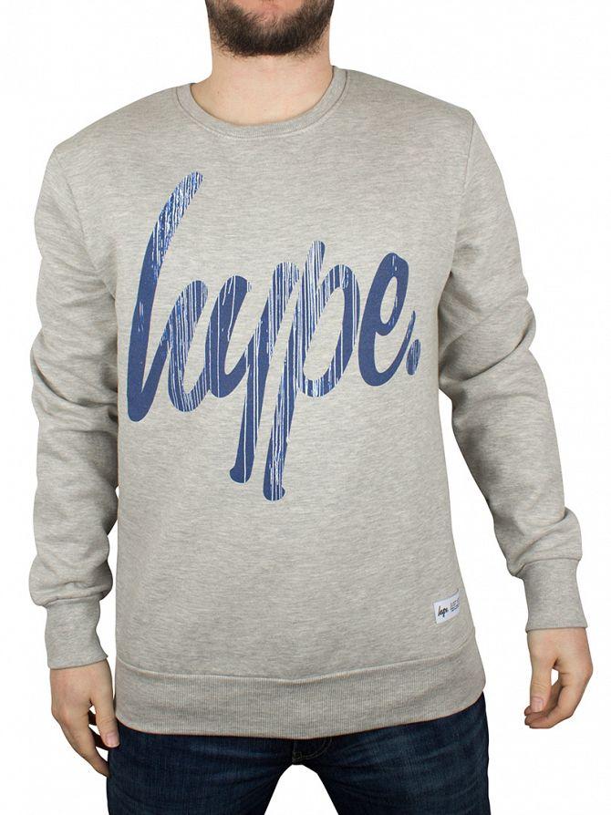 Hype Light Grey Marl Drips Script Logo Sweatshirt