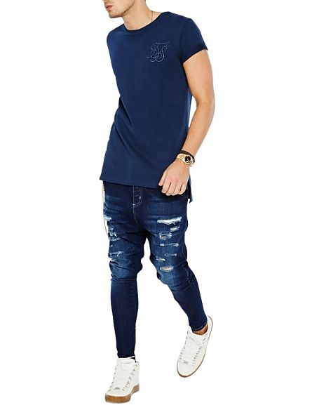 Sik Silk Dark Blue Washed Distress Hareem Skinny Jeans