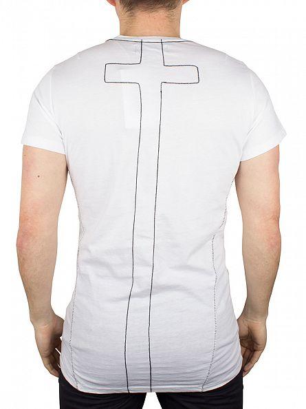 Religion White Skeleton Hand Stitch T-Shirt