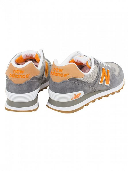 New Balance Grey/Apricot 574 Trainers
