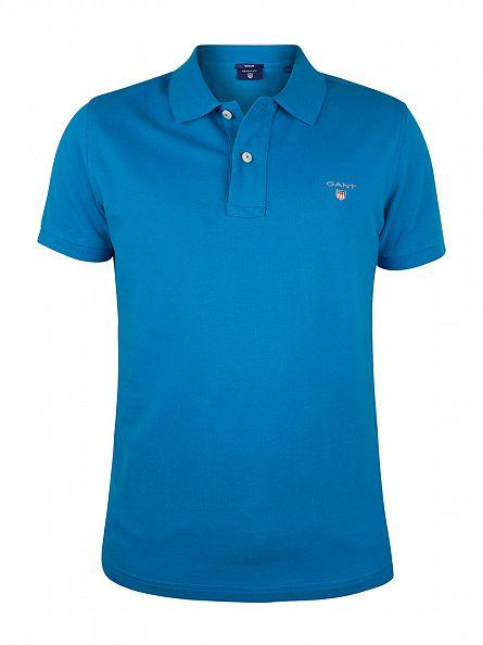 Gant Teal Blue Original Pique Rugger Polo Shirt