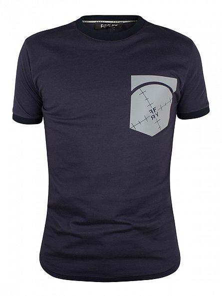 Foray Navy Pouch Scope Pocket Print T-Shirt