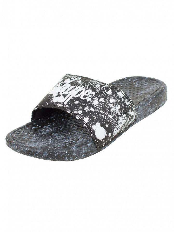 Hype Black/White Core Slider Speckle Logo Flip Flops