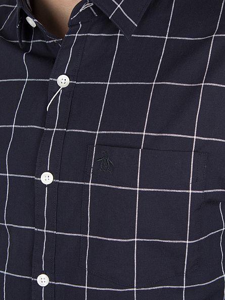 Original Penguin Dark Sapphire Windowpane Chambray Plaid Shirt