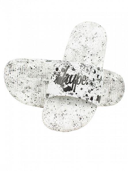 Hype White/Black Core Slider Speckle Logo Flip Flops