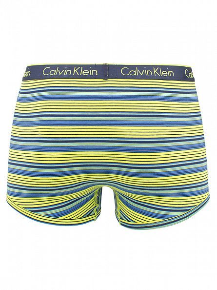 Calvin Klein Blue Shadow/Yellow CK One Marquee Striped Cotton Trunks