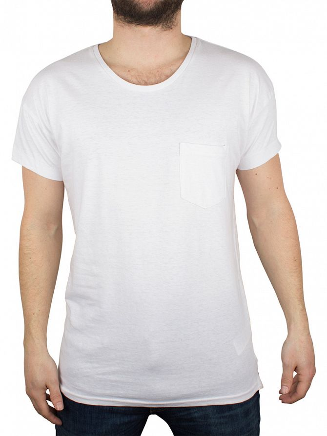 Hilfiger Denim Classic White Basic Solid Logo Pocket T-Shirt