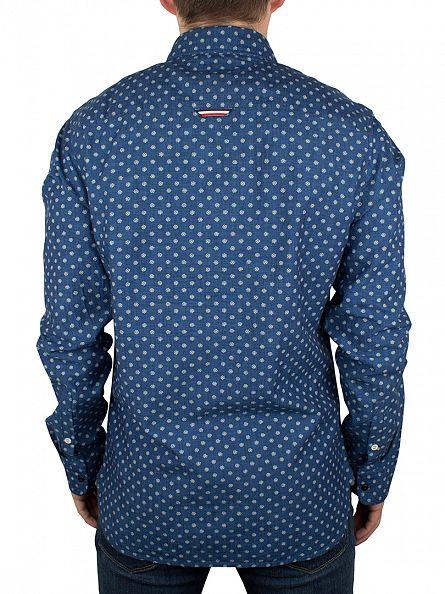 Hilfiger Denim Indigo Printed Floral Slim Fit All Over Pattern Shirt