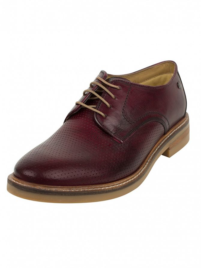 Base London Bordo Stanford Washed Perforated Shoes