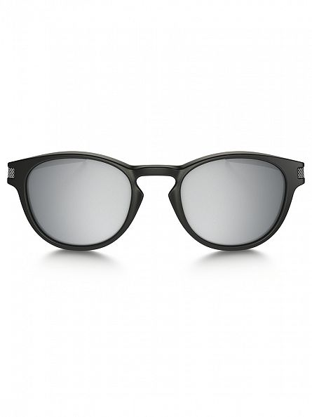 Oakley Matte Black/Chrome Iridium Latch Man Sunglasses