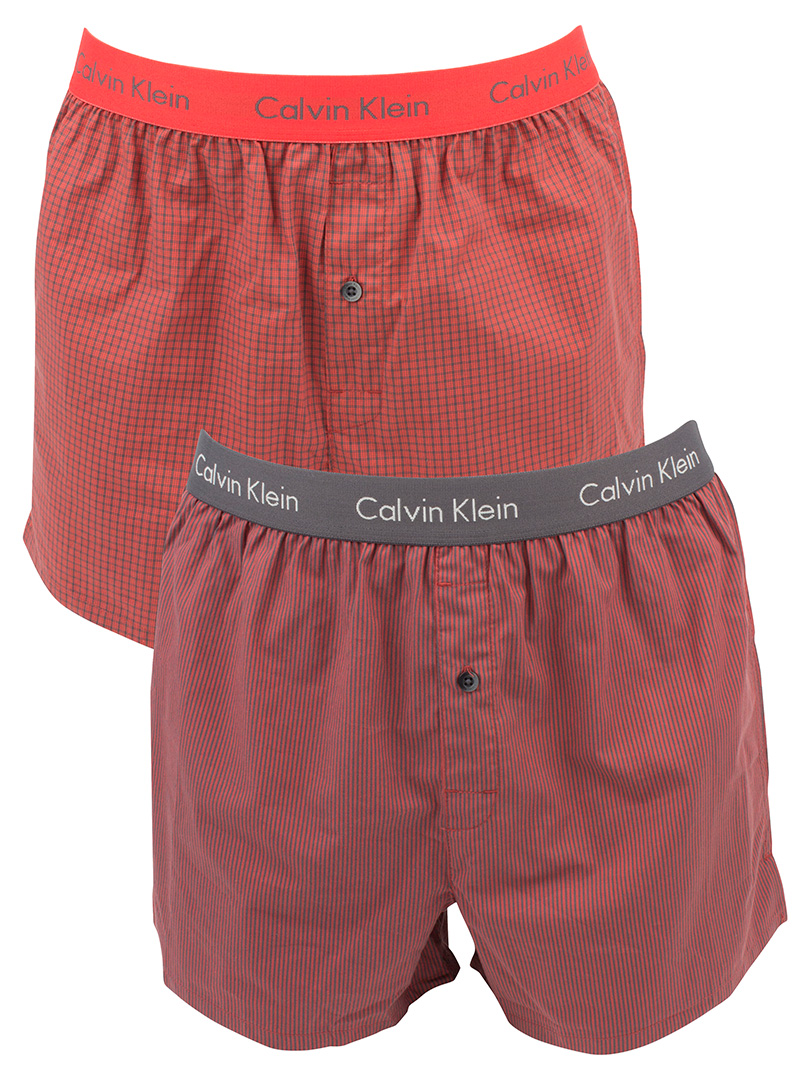 Calvin Klein Cali CheckRyan Red 2 Pack Checked Slim Fit Boxer Trunks