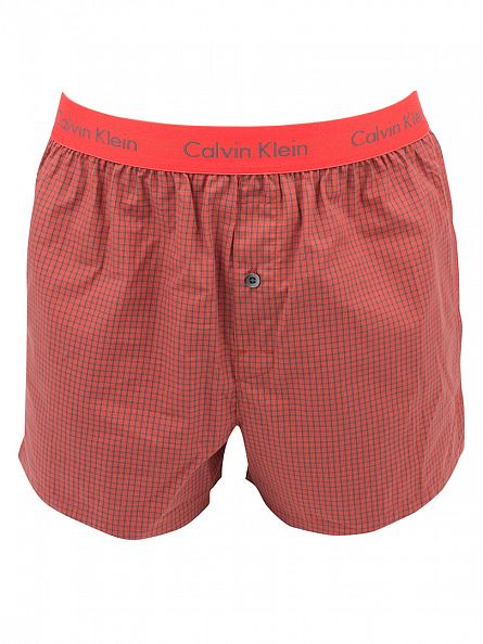 Calvin Klein Cali Check/Ryan Red 2 Pack Checked Slim Fit Boxer Trunks